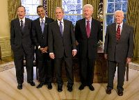 President George W. Bush meets with former Presidents George H.W. Bush, Bill Clinton and Jimmy Carter and President-elect Barack Obama - Jan. 7, 2009
