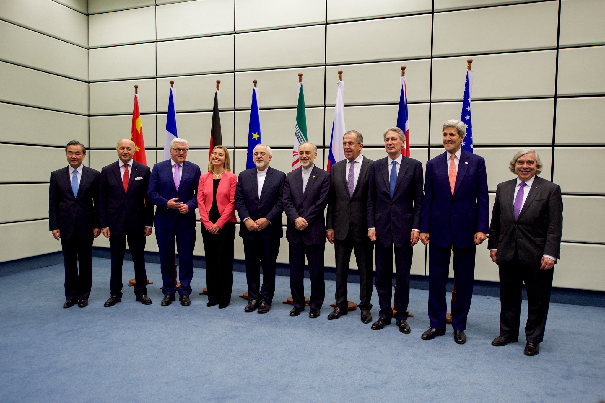 Secretary Kerry Poses for a Group Photo With E.U., P5+1, and Iranian Officials Before Final Plenary of Iran Nuclear Negotiations in Austria - USDOS Photo (July 14, 2015)