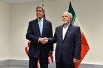 U.S. Secretary of State John Kerry and Iranian Foreign Minister address reporters before their bilateral meeting at the United Nations Headquarters on the sidelines of the 70th Regular Session of the UN General Assembly in New York, New York - US DOS Photo - September 26, 2015