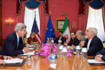 Secretary Kerry Speaks With Iranian Foreign Minister Zarif Before Meeting in Switzerland - USDOS Photo (February 23, 2015)