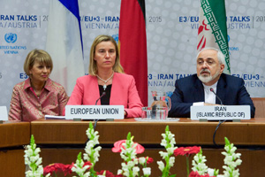 EU High Representative Mogherini and Iranian Foreign Minister Zarif Are Pictured During Final Plenary of Iran Nuclear Negotiations With Iranian Officials - USDOS Photo (July 14, 2015)