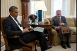 President Barack Obama receives the Presidential Daily Briefing from Robert Cardillo, Deputy Director of National Intelligence - January 31, 2012)