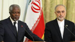 Kofi Annan at a joint press conference with Iranian Foreign Minister Ali Akbar Salehi in Tehran, April 11, 2012.
