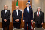 Secretary Kerry, Energy Secretary Moniz Stand With Iranian Foreign Minister Zarif and Vice President of Iran for Atomic Energy Salehi Before Meeting in Switzerland - USDOS Photo (February 23, 2015)