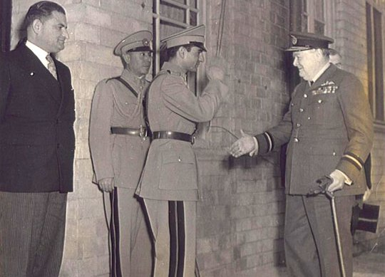 Shah of Iran & Winston Churchill  at the close of the Tehran Conferenc. Standing on the left is Ali Soheili Prime Minister of Iran. November 29, 1943