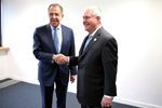 Secretary Tillerson shakes hands with Russian Foreign Minister Sergey Lavrov - USDOS Photo, February 16, 2017