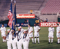 San Jose Quake Player Khodadad Azizi (No. 11 far left) at the Rose Bowl (August 30, 2000)