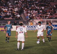 Khodadad Azizi playing against the LA Galaxy at the Rose Bowl (August 30, 2000)