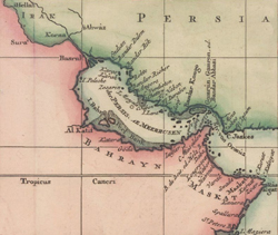 Cropped section of German version of Jacques-Nicolas Bellin's map of Arabia (1745)