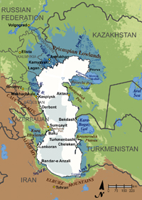 major political and geographical features of the Caspian Sea region