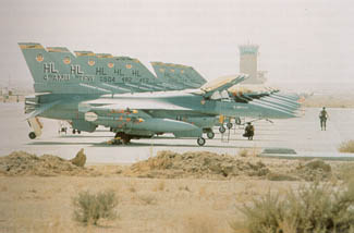 F-16 fighters at a Saudi air base during DESERT SHIELD