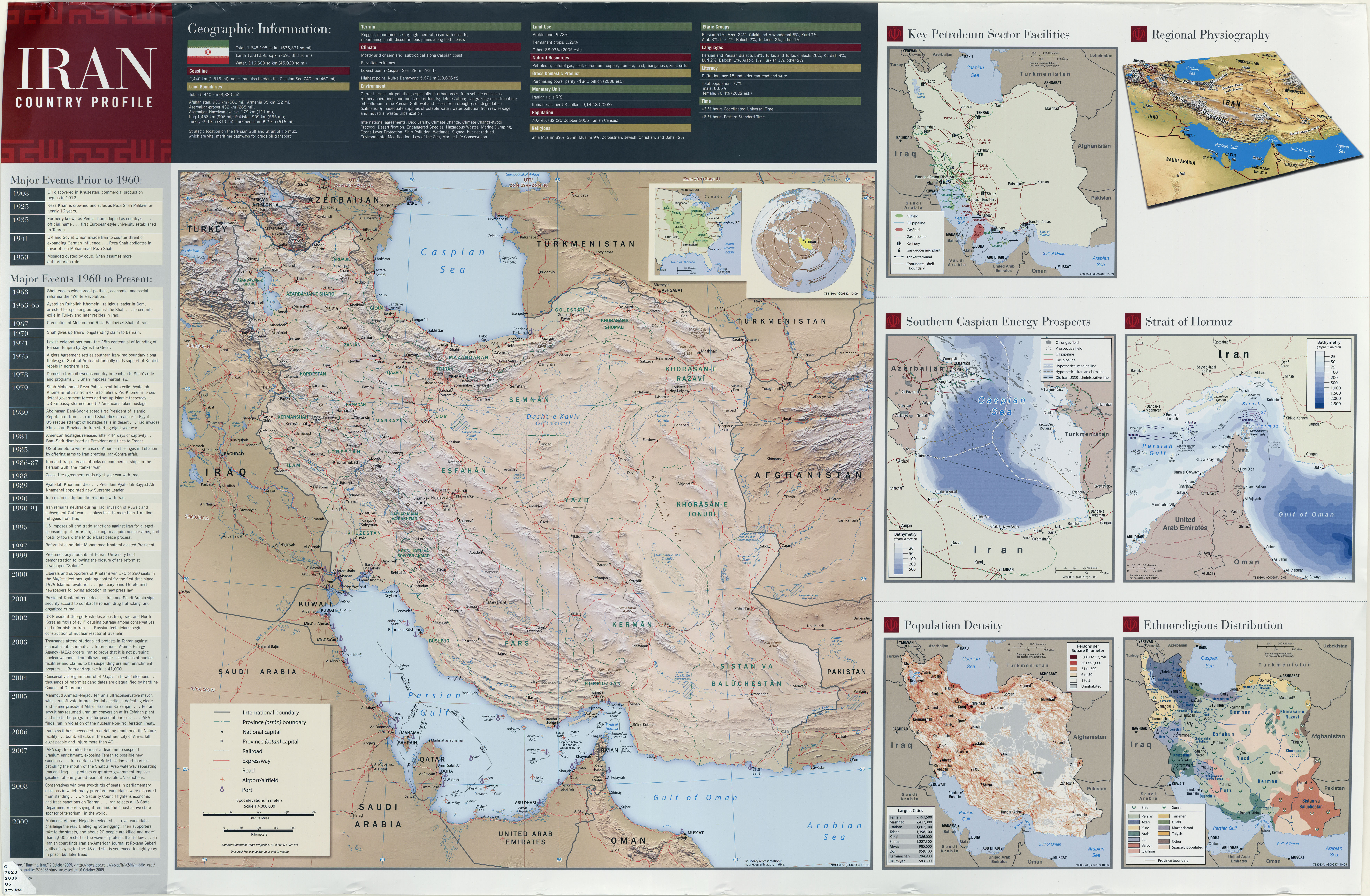 Iran Country Profile Map 2009 Cia Ut Scan
