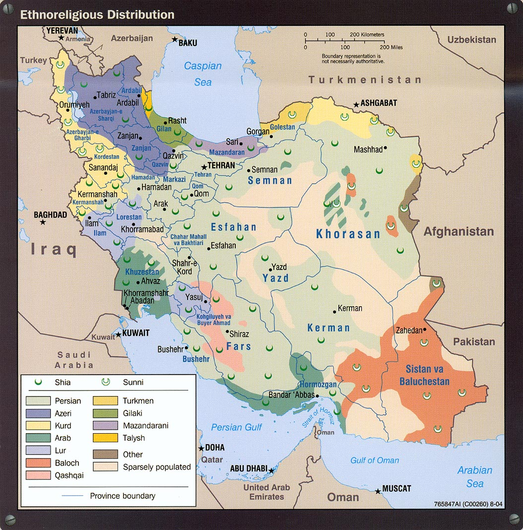 Iran maps charts ethnoreligious distribution ciaut scan gumiabroncs Choice Image
