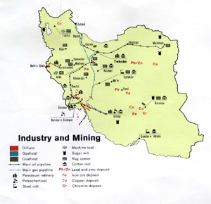 Iran Industry and Mining - CIA Map