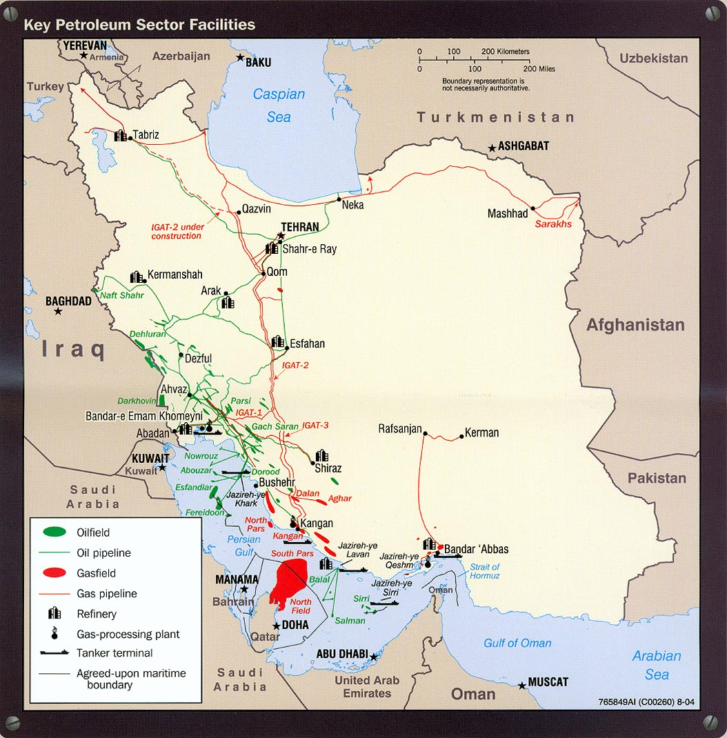 iran maps usgs key petroleum facilites