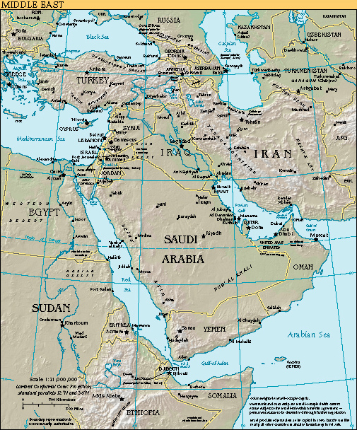 Middle East Resource Guide خاور میانه - Middle east physical map 2003