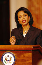 Secretary Rice holds a press conference on Iran on May 31, 2006. State Department photo