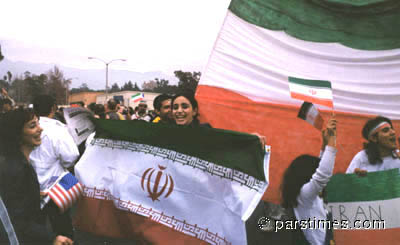 Iranian football fans at the Rose Bowl (January 16, 2000)