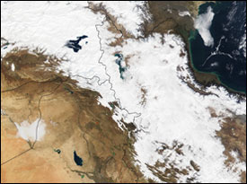 Snow in Iran and Turkey - MODIS (January 25, 2002)