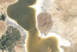 Lake Orumiyeh, Iran - NASA (Nov 9, 2011)