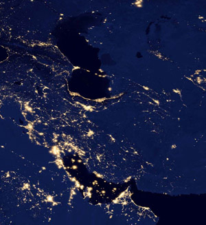 The Persian Gulf Region at night - NOAA/NASA