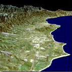Perspective View with Landsat Overlay Santa Barbara Coastline, California - JPL (May 18, 2001)