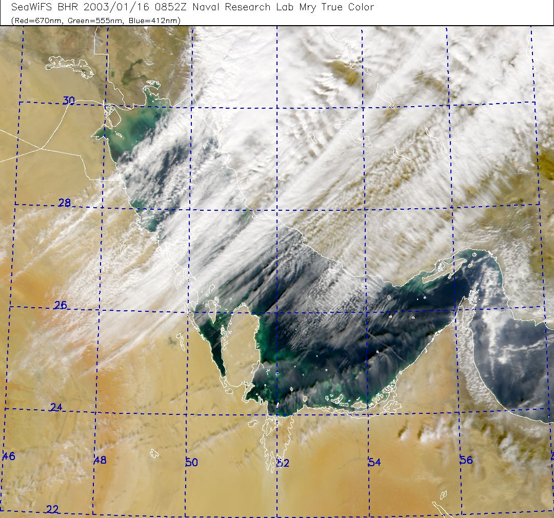 A Storm System Crosses the Persian Gulf - SeaWiFS True Color NRL Lab