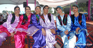 Iranian women wearing traditional costume